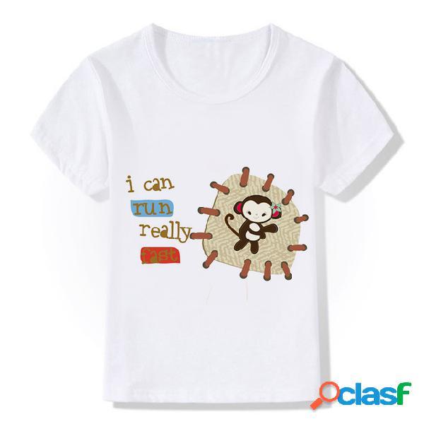 Hot new cartoon dos desenhos animados patch monkey print crianças t-shirt modal de manga curta