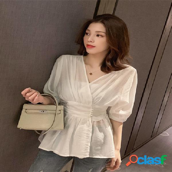 Ji han fan v collar cintura fina seção fada branco camisa camisa nicho feminino design sense pequeno camisa