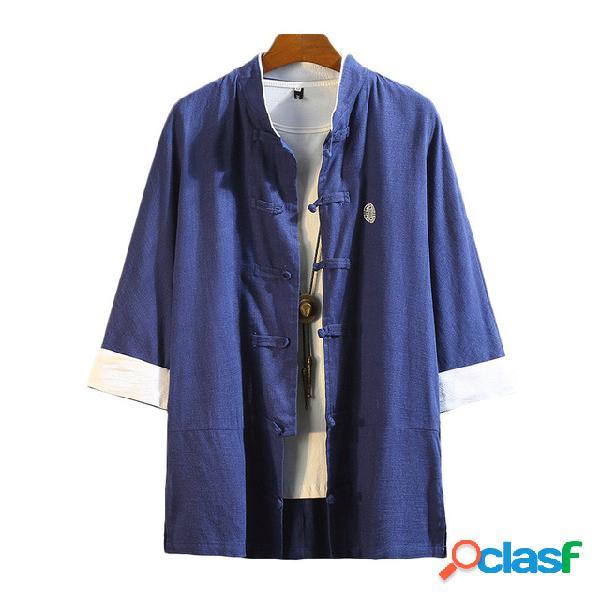 Kimono solto algodão retrô e linho de sete pontos mangas camisa jaqueta