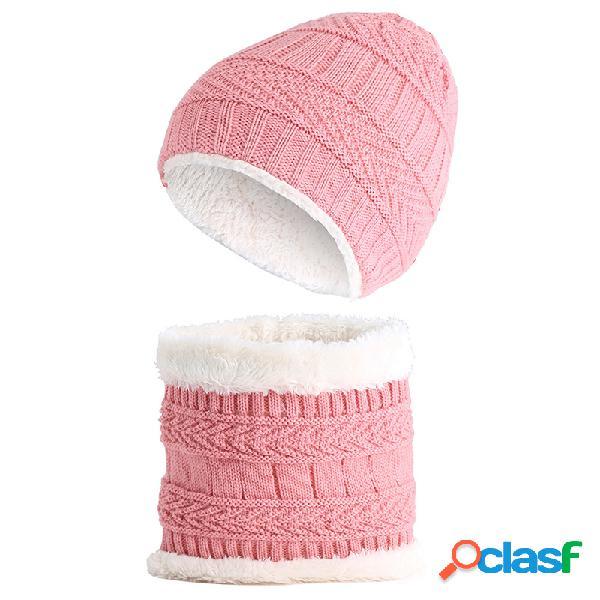 Malha de lã de inverno quente infantil chapéu + cachecol conjunto para 1-8 anos