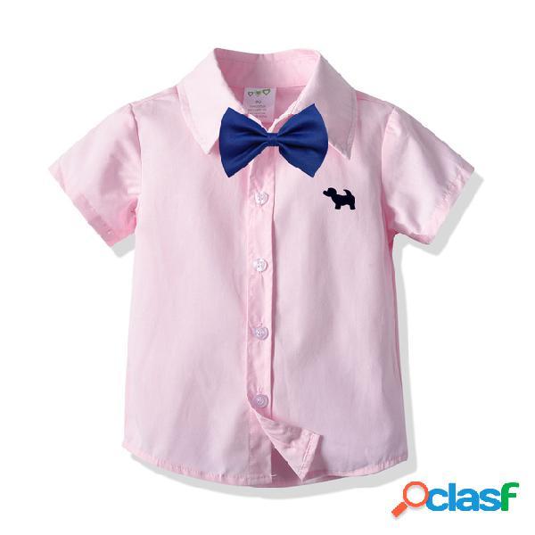 Menino de manga curta de algodão camisa criança bebê rosa desenhos animados camisa temporada cardigan