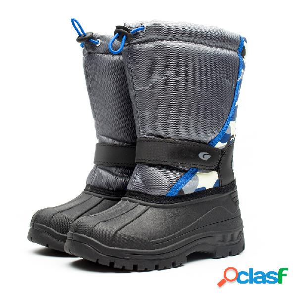 Meninos meninas color match elastic banda mid-calf botas de neve ao ar livre