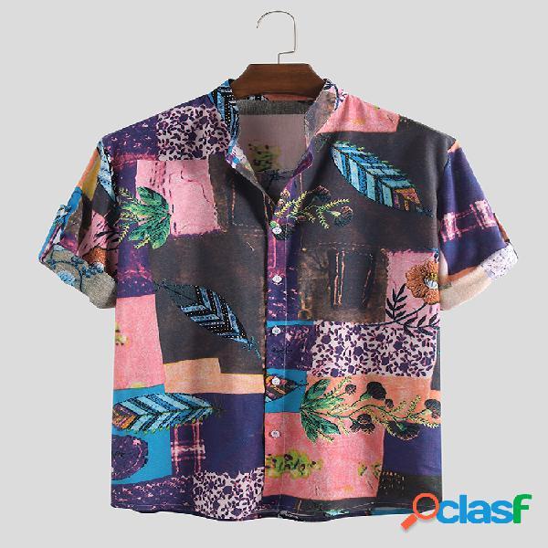 Mens estilo étnico impressão floral verão meia manga 100% algodão solto casual camisa