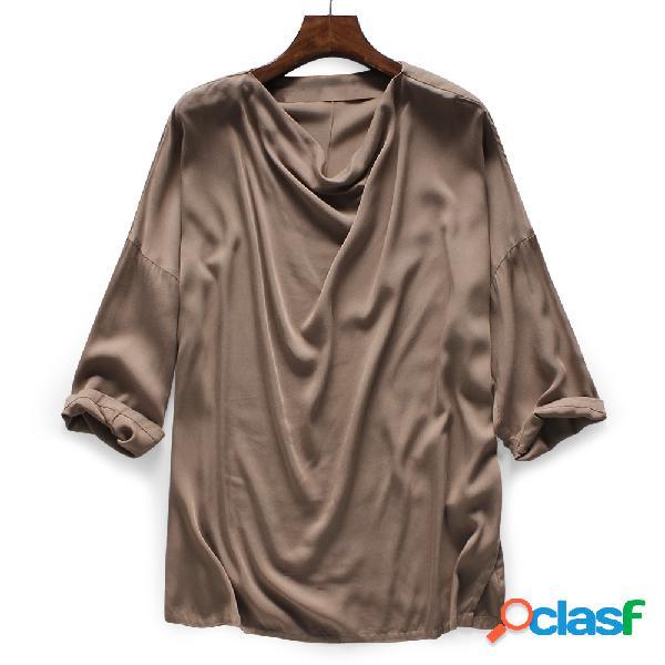 Mens linho de algodão manga comprida solta casual tops tees camisas masculino sólido t-shirt
