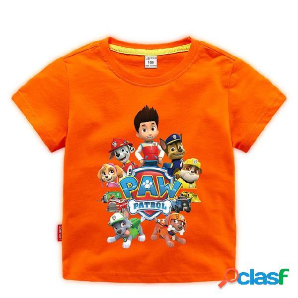 Roupas infantis, crianças, crianças, meninos, padrão dos desenhos animados, algodão estampado, em torno do pescoço, t-shirt de manga curta