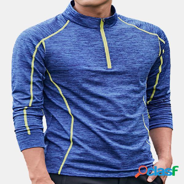 T-shirt elástica aptidão dos homens corrida ao ar livre tops de secagem rápida camisa apertada t-shirt de manga comprida
