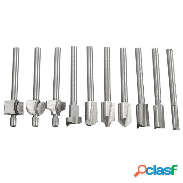 10pcs 1/8 de polegada de aço de alta velocidade de corte ferramenta cortador de madeira