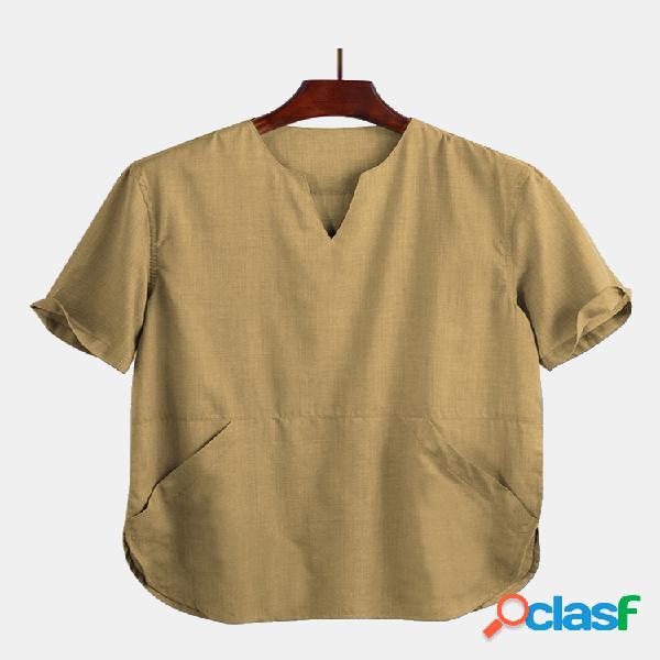 Camiseta masculina de manga curta com bolso oriental fino e respirável canguru oriental