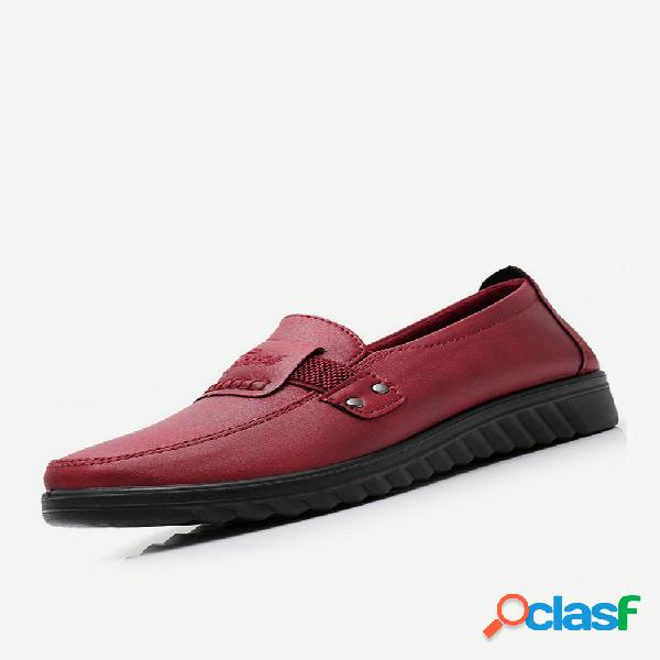 Feminino comfy soft microfibra rodada toe slip on loafers