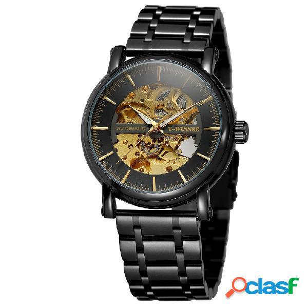 Moda hallow relógio mecânico de aço inoxidável homens cintura relógio automático homens assistir