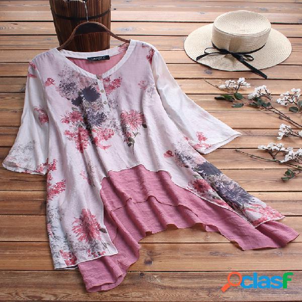 Blusa floral com estampa floral de duas peças e decote em o estilo chinês