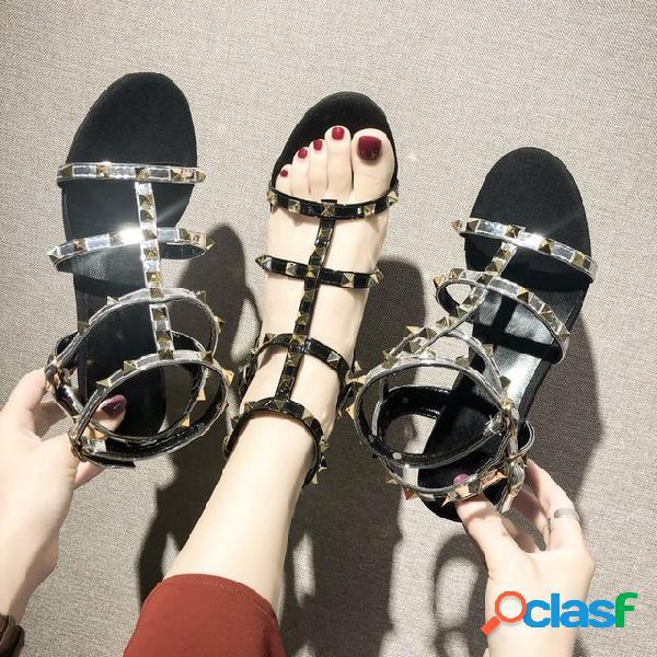 Nova moda europeia e americana sandálias decorativas vento nacional tamanho grande calçados femininos fornecimento