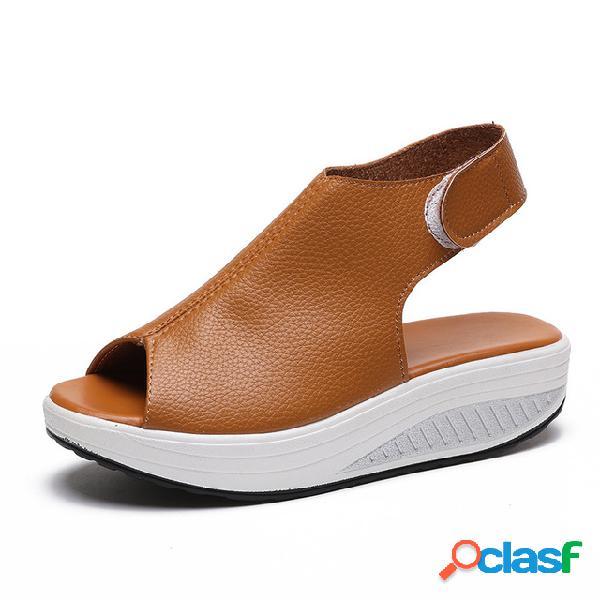 Sandálias de boca larga femininas de tamanho grande e grosso confortável