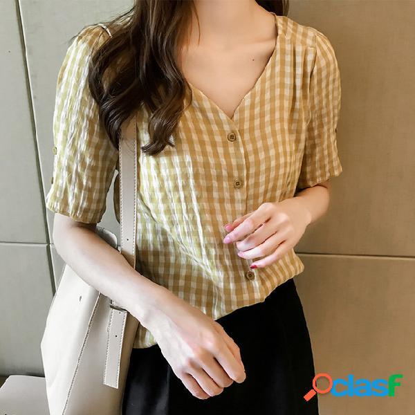 Tops de manga curta xadrez vintage feminino solto camisa