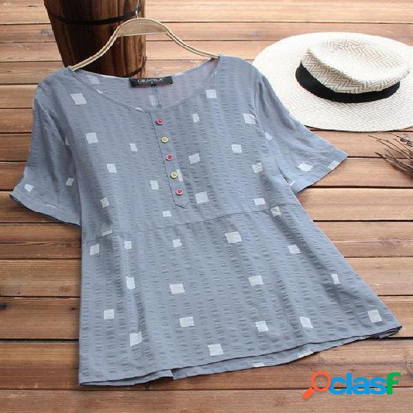 Algodão e linho impressão o pescoço manga curta t-shirt casual para as mulheres