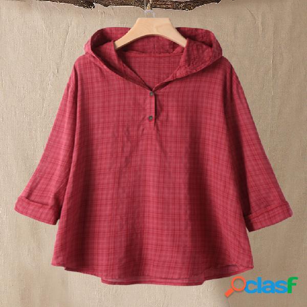 Capa com capuz estampado xadrez manga comprida tamanho plus blusa