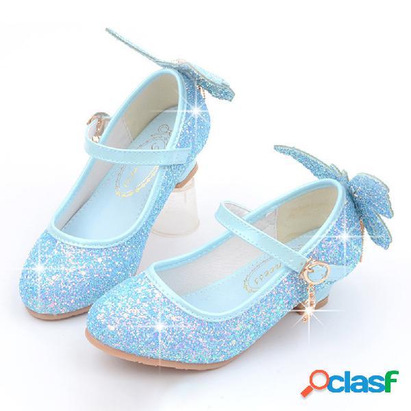 Meninas brilhando borboleta de lantejoulas padrão princesa gatinho calcanhar sapatos