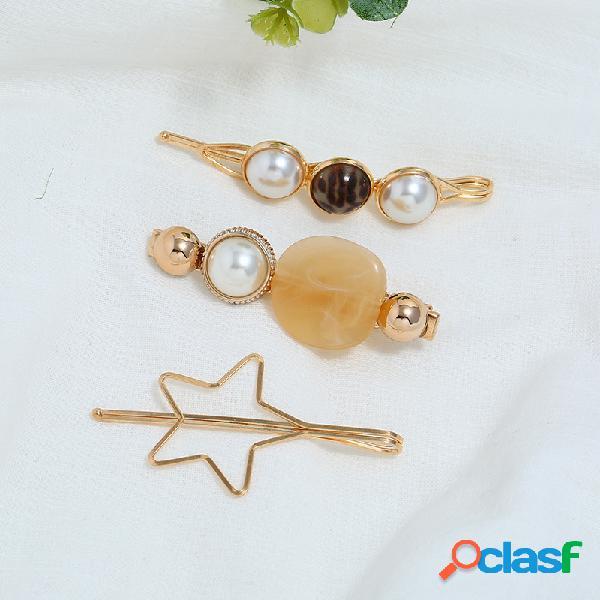 Moda pérola pasta word cabelo clipe de ouro pentagrama cabelo clipe para as mulheres cabelo acessórios