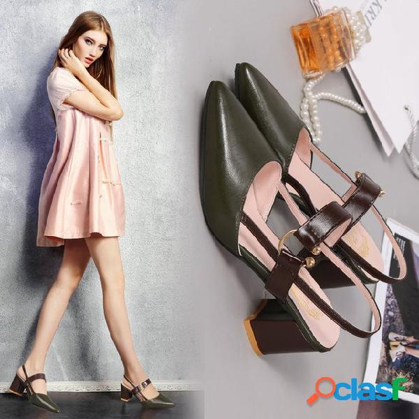Nova palavra pontiaguda com fivela única sapatos femininos grosso com sandálias baotou com fivela grande tamanho sapatos
