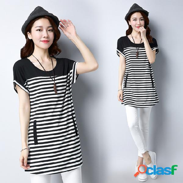 Nova t-shirt feminina tamanho grande listras na longa seção de mangas curtas soltas das mulheres camisa camisa camisa