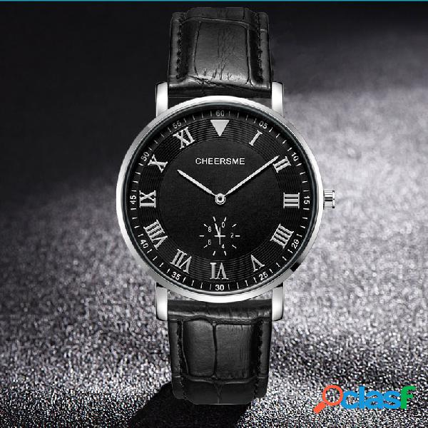Ultra fino dial design homens relógio de pulso relógio de quartzo de estilo de negócios de couro pulseira