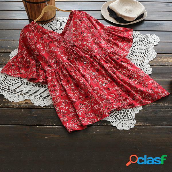 Estampa floral ruffle com decote em v bow nó plus blusa tamanho