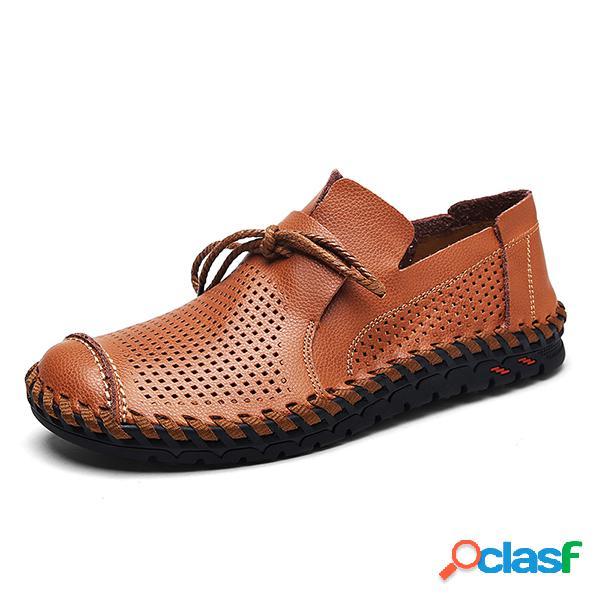 Homens mão costura respirável oco out soft sola sapatos casuais ao ar livre