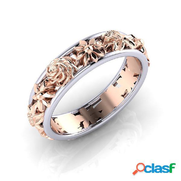 Moda duplo cor flor anéis forma redonda rose gold mulheres anéis acessórios