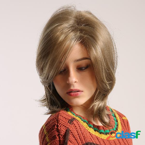 Perucas sintéticas de 12 polegadas da moda, perucas curtas e resistentes de fibra química, resistentes ao calor para mulheres