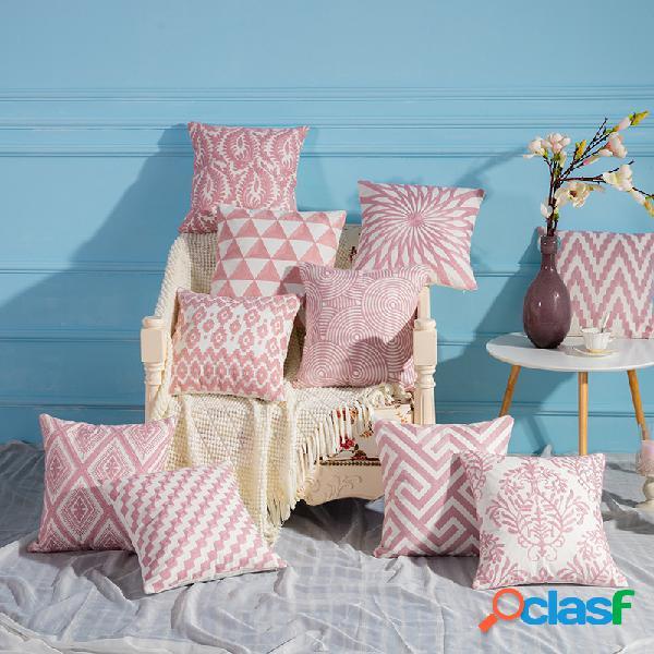 Rosa tricô à mão padrão travesseiro de linho caso sofá de tecido doméstico capa de almofada mediterrânea