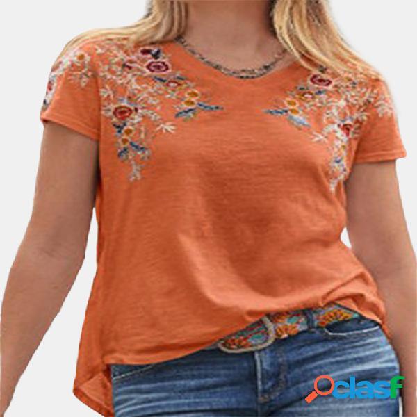 Camiseta casual bordada com decote em v manga curta para mulheres