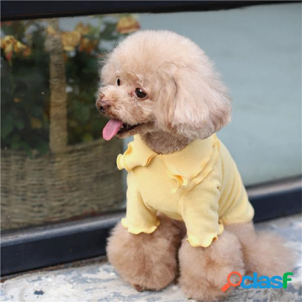 Camiseta de lapela dupla com roupas para animais de estimação cachorro base para roupas de cor sólida