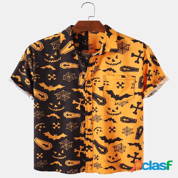 Festa de retalhos de abóbora de halloween para homem engraçada camisa