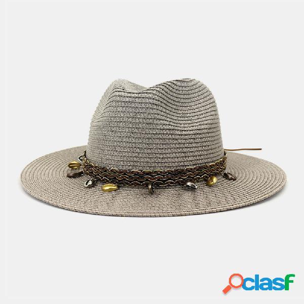 Homens e mulheres britânico vento jazz palha chapéu protetor solar ao ar livre respirável grande aba sol chapéu