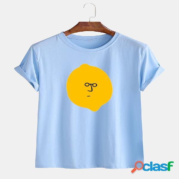Mens cartoon lemon impresso em torno do pescoço casual t-shirts de manga curta