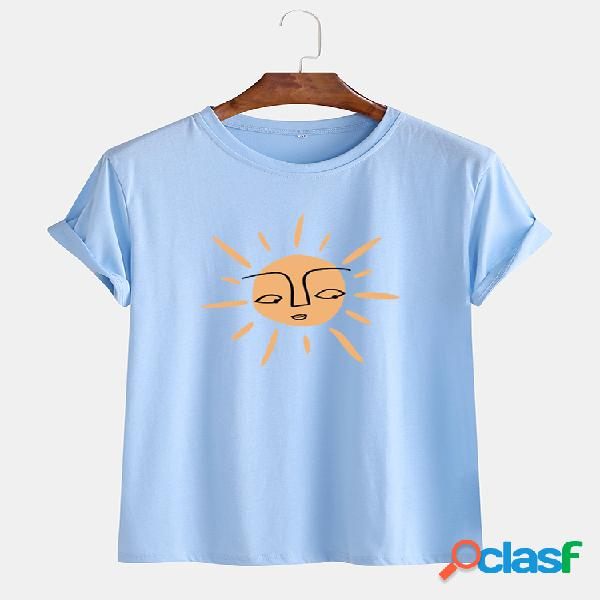 Mens cartoon sun impresso em torno do pescoço casual manga curta t-shirts