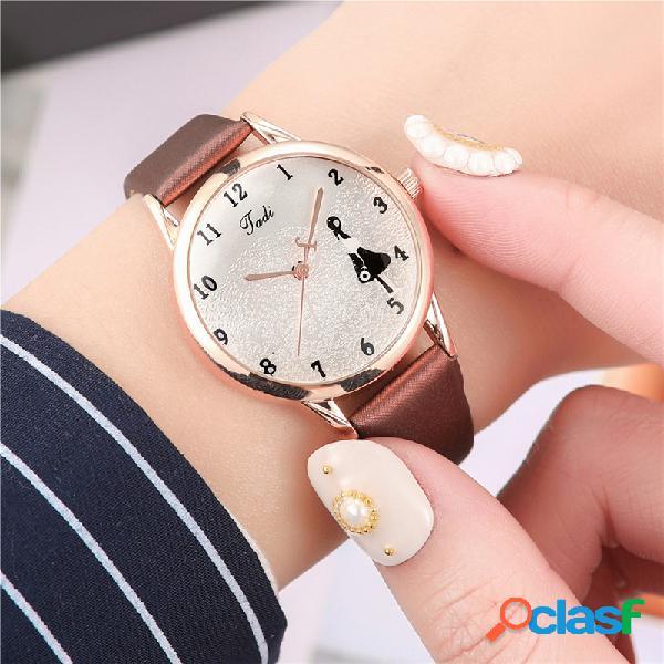 Moda elegante mulheres selvagens relógios couro banda caráter mar padrão dial design relógio de quartzo