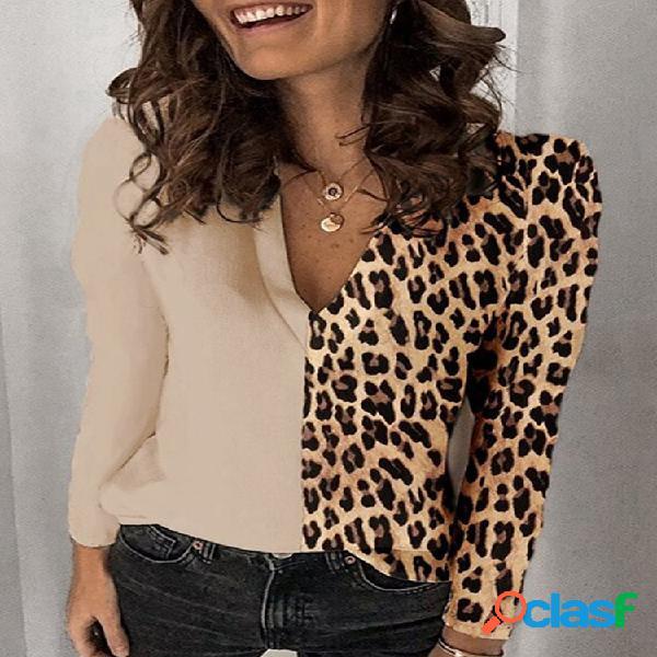 Blusa casual estampa leopardo patchwork com decote em v plus tamanho