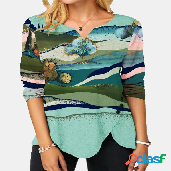 Blusa com decote em v de manga comprida irregular com estampa paisagem
