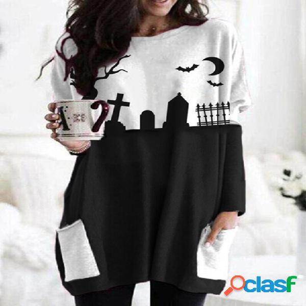 Blusa com estampa de halloween de manga comprida decote em o plus tamanho e bolsos