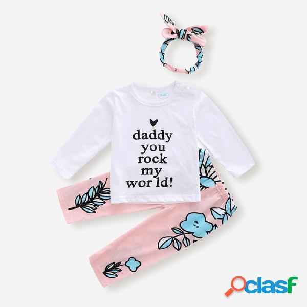 Conjunto de roupas casuais com 3 peças de carta para bebês e estampa floral para 6-24 milhões