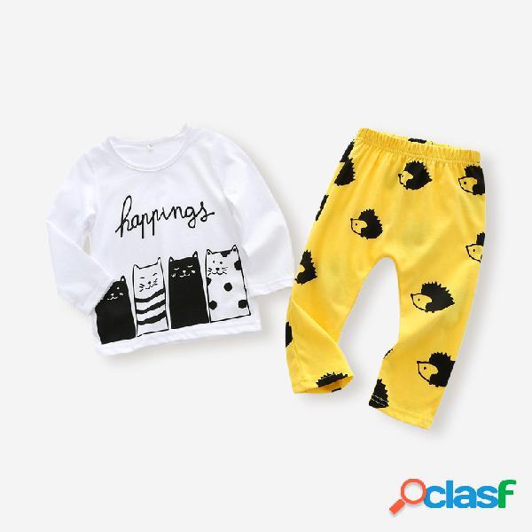 Conjunto de roupas casuais de mangas compridas com estampa de desenhos animados para bebês para 6-24 milhões