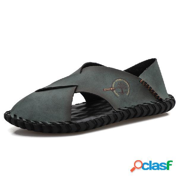 Masculino couro confortável couro antiderrapante sandálias com costura à mão praia