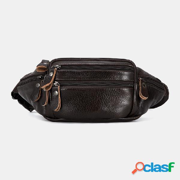 Masculino couro genuíno multifuncional de grande capacidade multifuncional crossbody bolsa peito bolsa sling bolsa