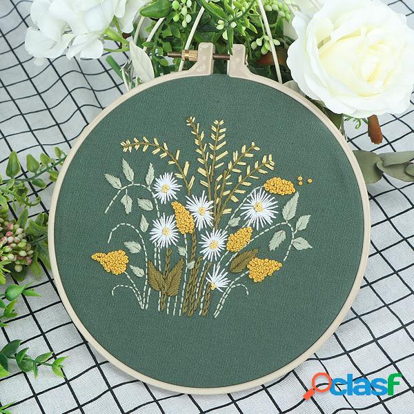 Pano diy feito à mão para iniciantes bordado europeu material de flores pacote conjunto de costura crisântemo