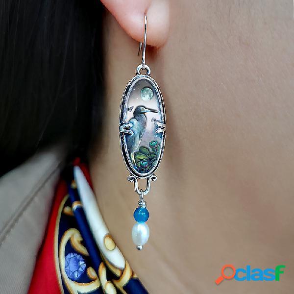 Safira vintage brincos flor de pássaro azul heron pérola pingente brincos joias femininas
