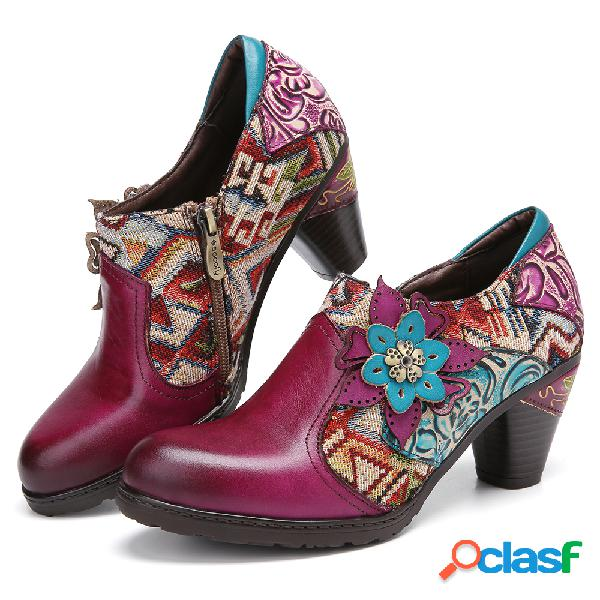 Socofy flores retro tecido floral couro genuíno sapatos de salto confortáveis de emenda