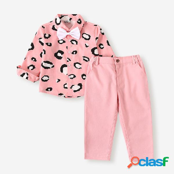 Terno masculino de mangas compridas com estampa de leopardo para meninos 2-8 anos