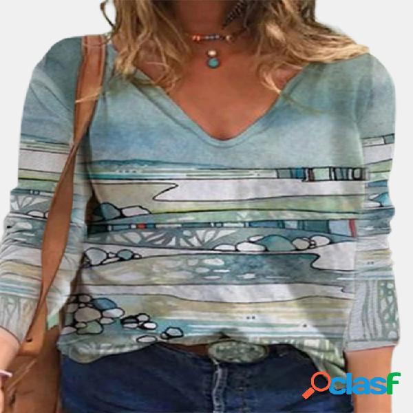Blusa casual para mulheres com estampa de manga comprida com decote em v