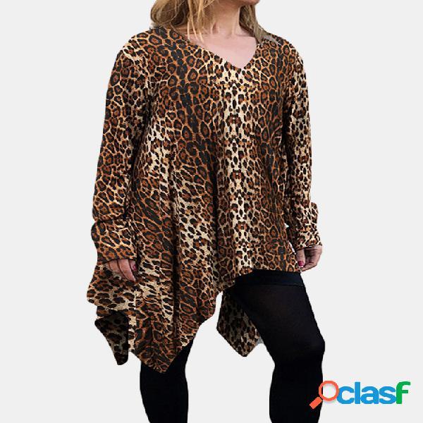 Blusa de manga comprida assimétrica com estampa de leopardo com decote em v